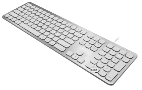 Ultra Slim USB Wired Keyboard with 2 USB Ports for Mac, Silver/White