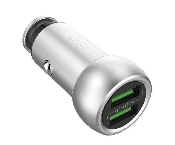 Envic 2 Port USB Car Charger, Zinc Alloy, Silver