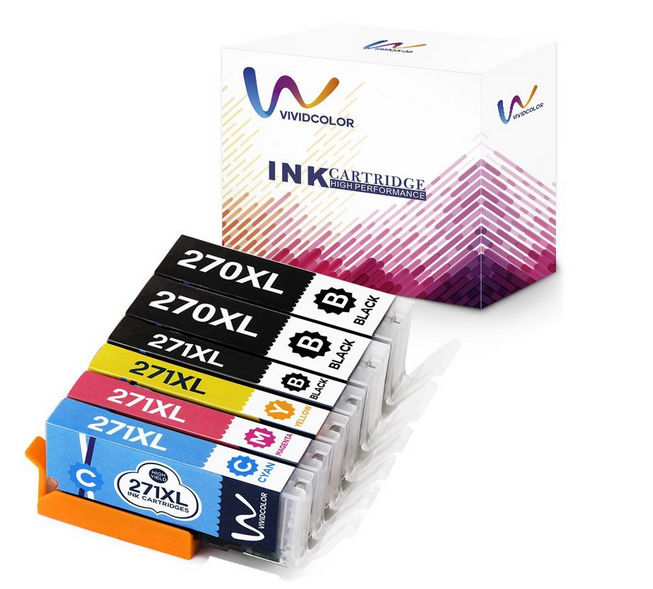 Vividcolor 5 Color 270XL/271XL High Yield Ink Cartridges, 6 Pack