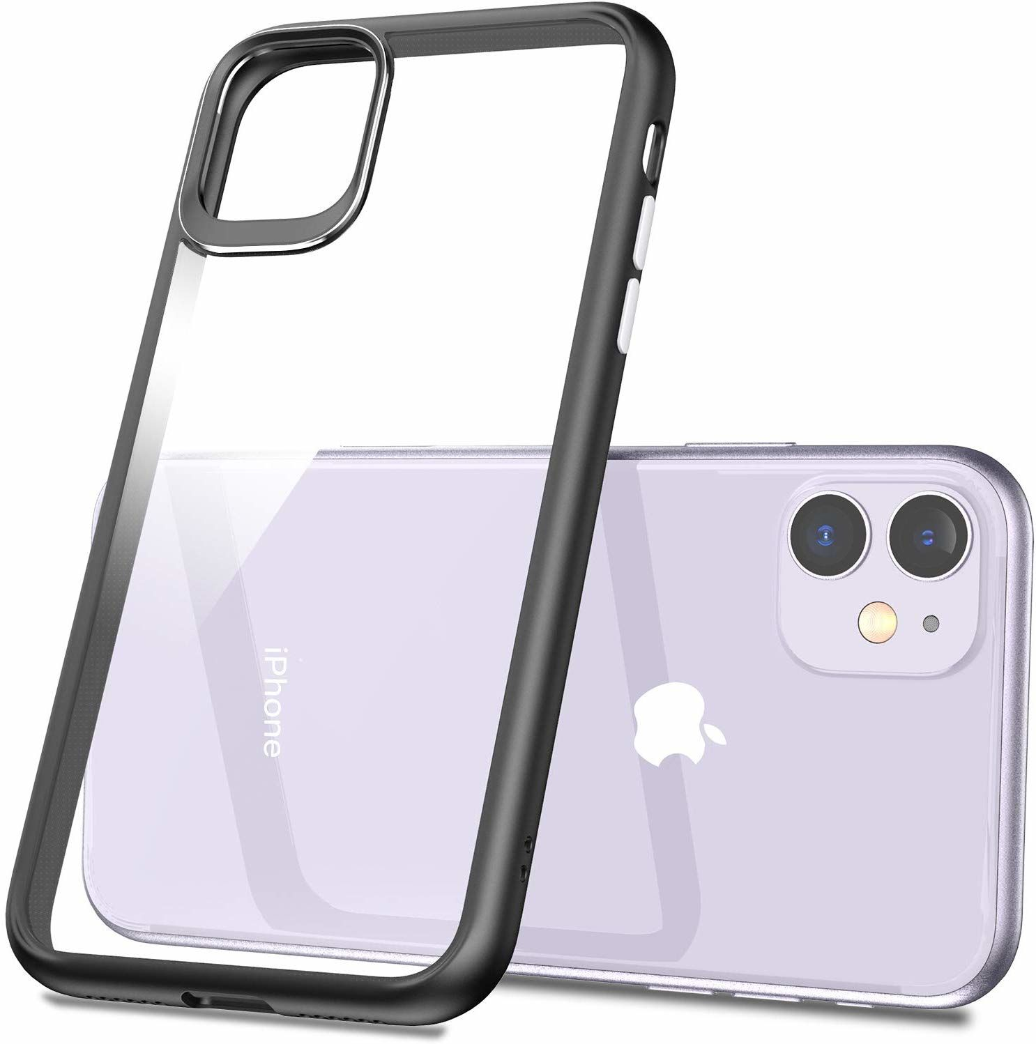 iPhone 11 Hybrid, Thin Fit Case, Matte Black with Clear back panel