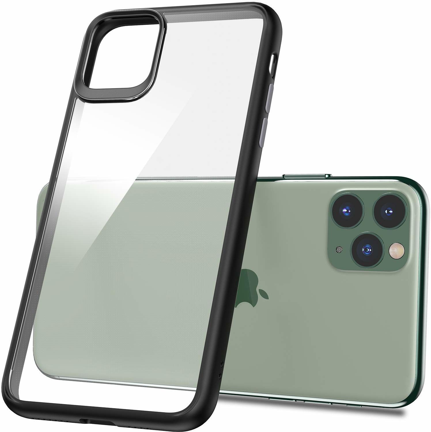 iPhone 11 Pro Max Hybrid, Soft Thin Fit Case, Matte Black with Clear back panel