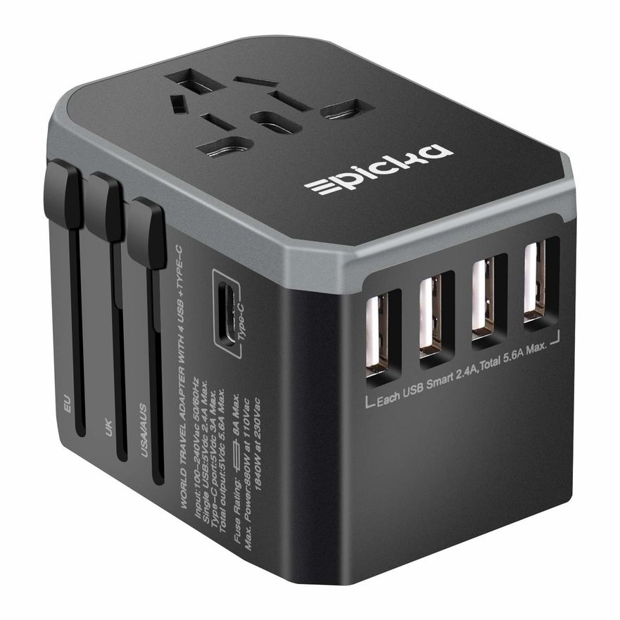 Epicka Travel AC Wall Adapter with USB and USB-C