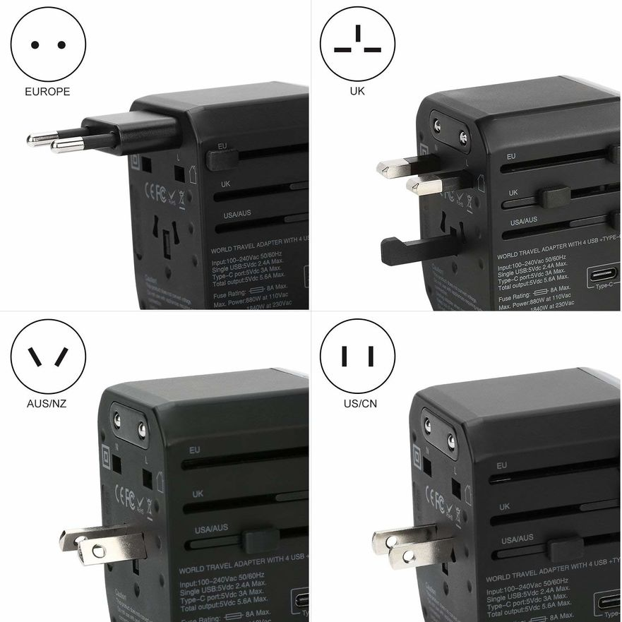 Epicka Travel Adapter with AC Plug Support for Europe, UK, US, Australia and China