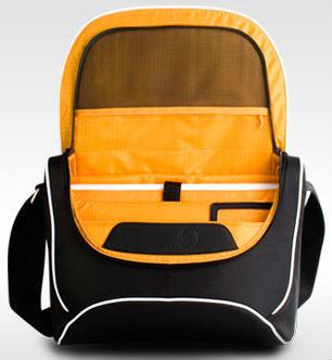 LA Besace Classic Messenger Bag, Black/Orange