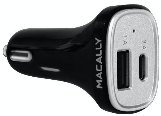Macally 20 Watt 2 Port USB-C and USB-A Car Charger