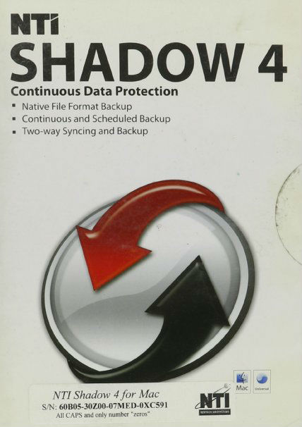 NTI Shadow 4 MacContinuous Data Protection