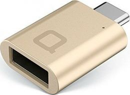 USB-C to USB 2.0 Type-A Mini Adapter, Gold