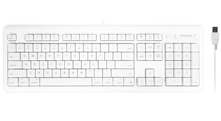 Macally Full Size USB Keyboard with 2 USB Ports for Mac, White